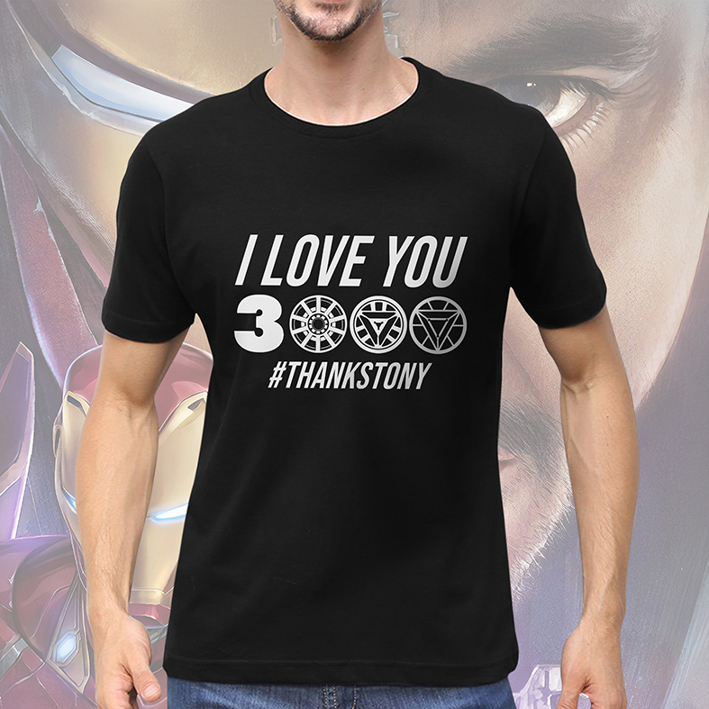 Camiseta Masculina Unissex I Love You 3000 #Thanks Tony Stark Iron Man Homem De Ferro Marvel (Preta) - EV
