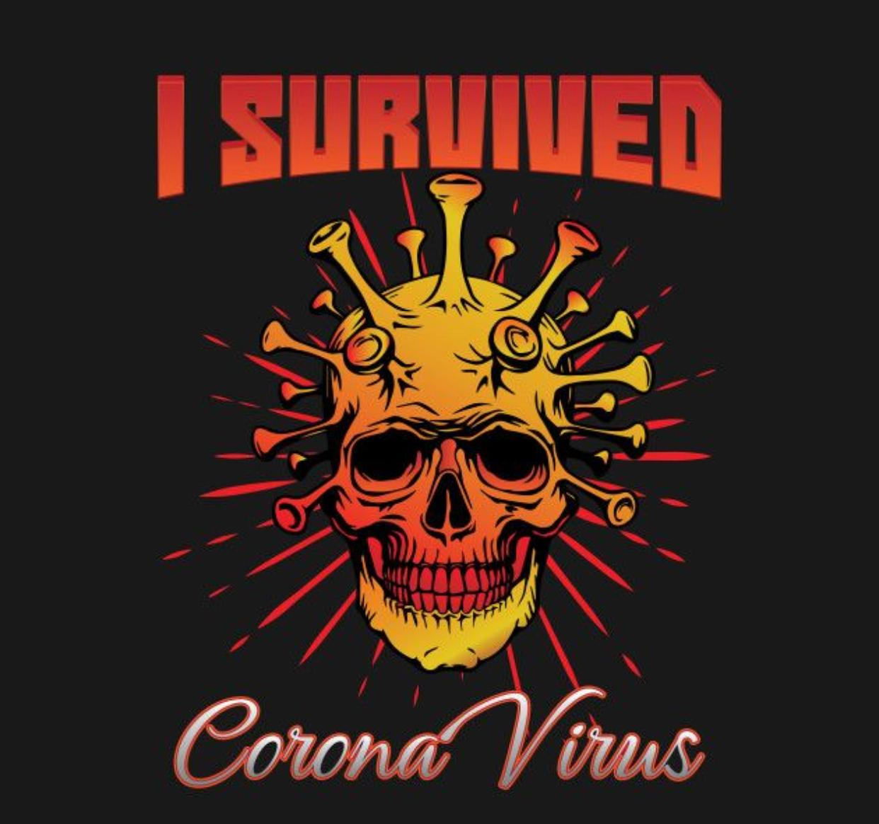Camiseta Masculina Unissex I Survived Corana Virus (Preta) - EV