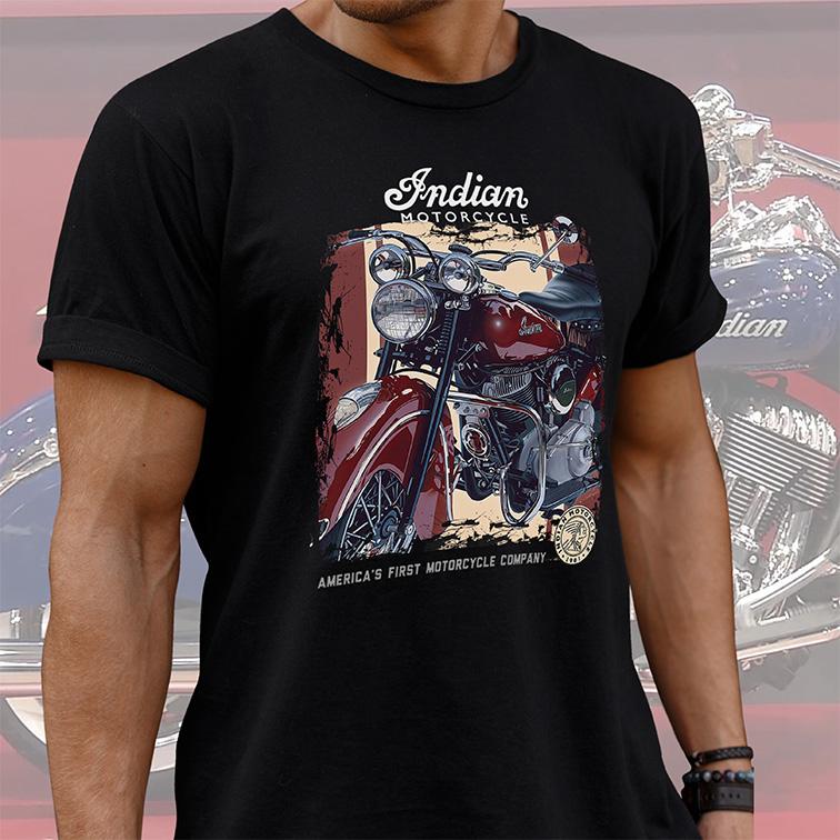 Camiseta Masculina Unissex Indian Motorcycle America's First Company (Preta) - EV