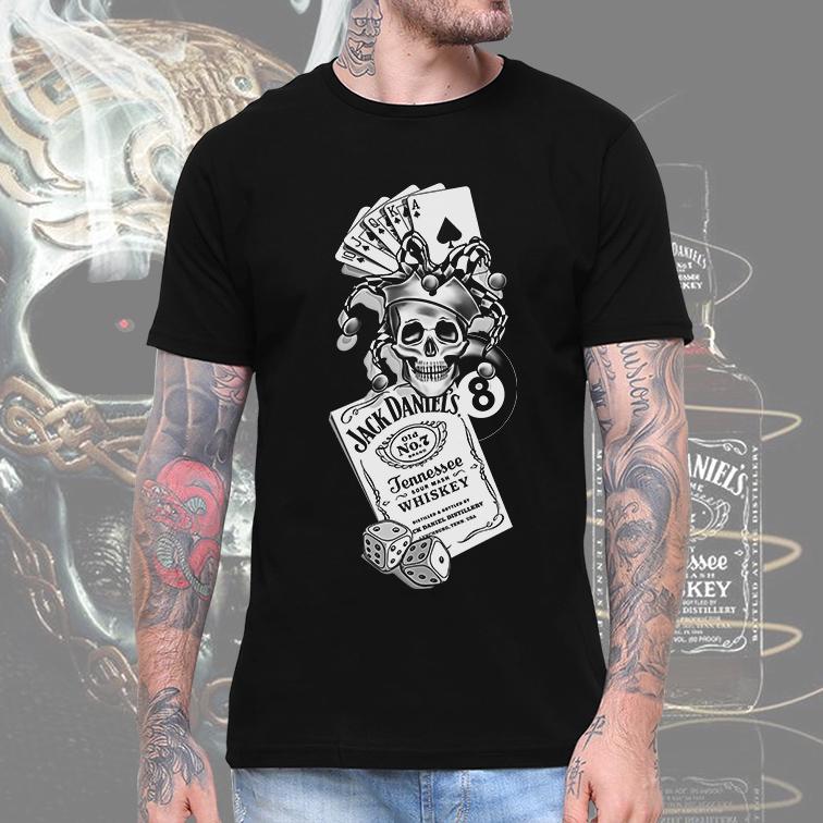 Camiseta Masculina Unissex Jack Daniel's Whiskey Skull Joker Ball 8 (Preta) - EV