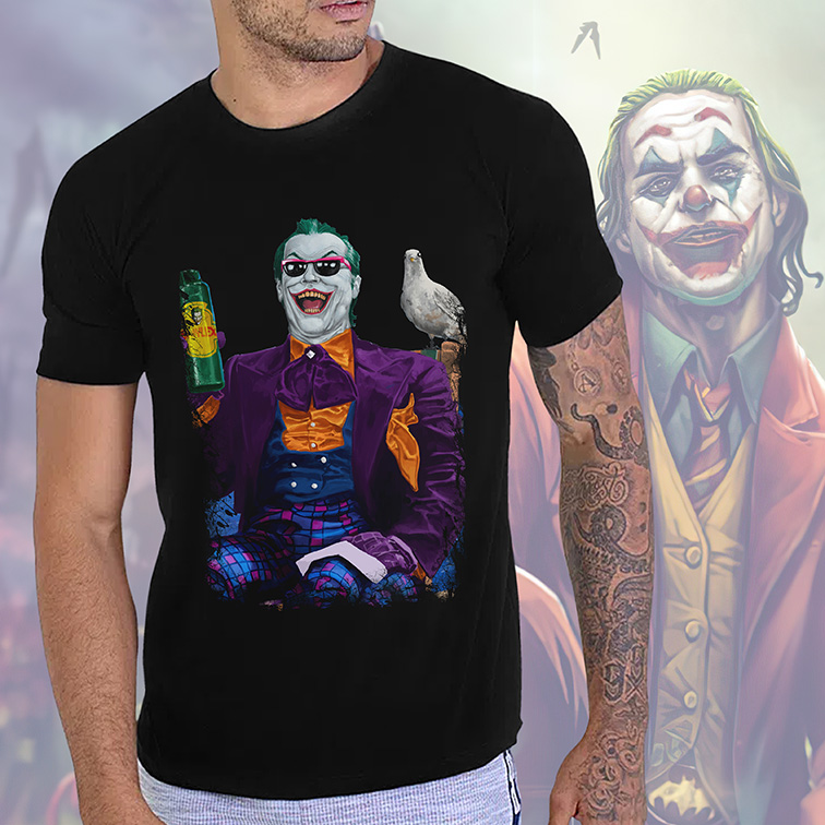 Camiseta Masculina Unissex Jack Nicholson's Joker is About the Best One Out There: Joker Coringa (Preta) - EV