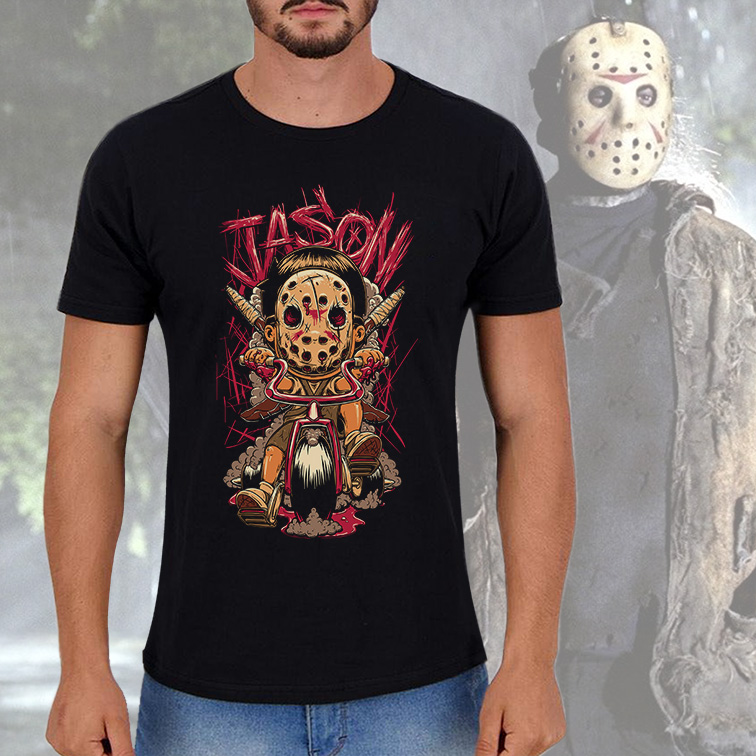 Camiseta Masculina Unissex Jason Kid Horror (Preta) - EV