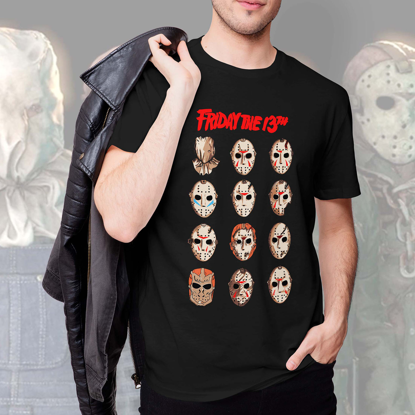 Camiseta Masculina Unissex Jason Voorhees Friday The 13th Sexta Feira 13 Terror Horror Serial Killer (Preta) - EV