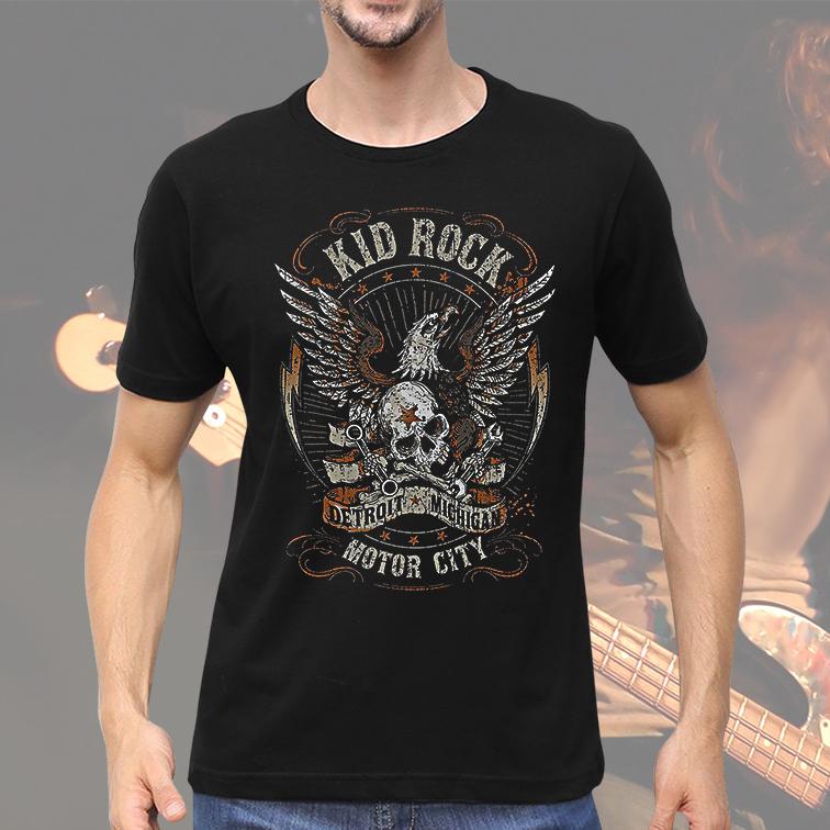 Camiseta Masculina Unissex Kid Rock Motor City Detroit Michigan (Preta) - EV