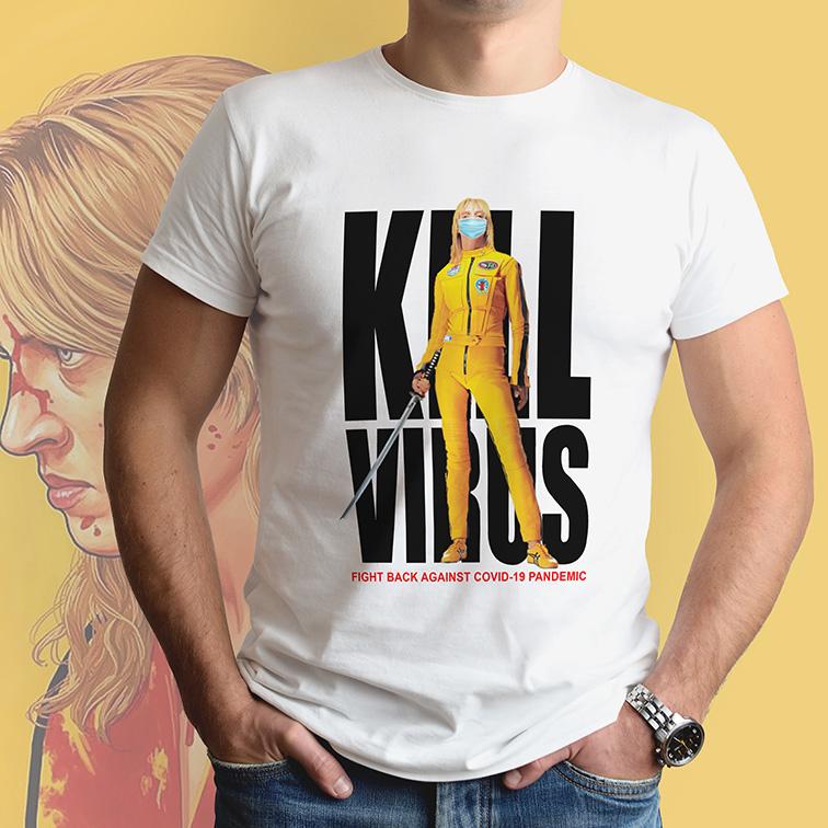 Camiseta Masculina Unissex Kill Virus Kill Bill (Branca) - EV