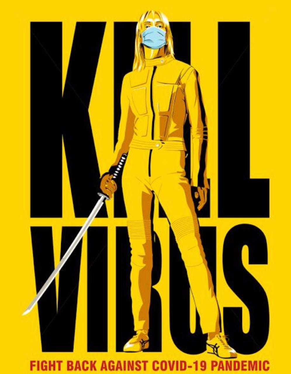 Camiseta Masculina Unissex Kill Virus Kill Bill (Preta) - EV
