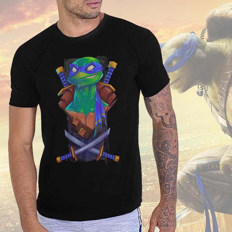 Camiseta Masculina Unissex Leonardo Teenage Mutant Ninja Turtles As Tartarugas Ninjas (Preta) - EV