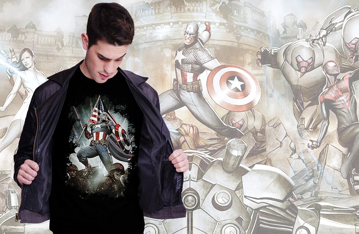 Camiseta Masculina Unissex Living Legend: Capitão América (Preta) - EV