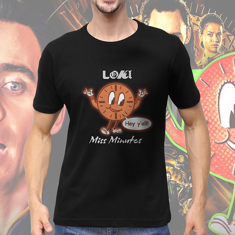 Camiseta Masculina Unissex Loki Hey Y'all Miss Minutes Marvel Disney+ (Preta) - EV