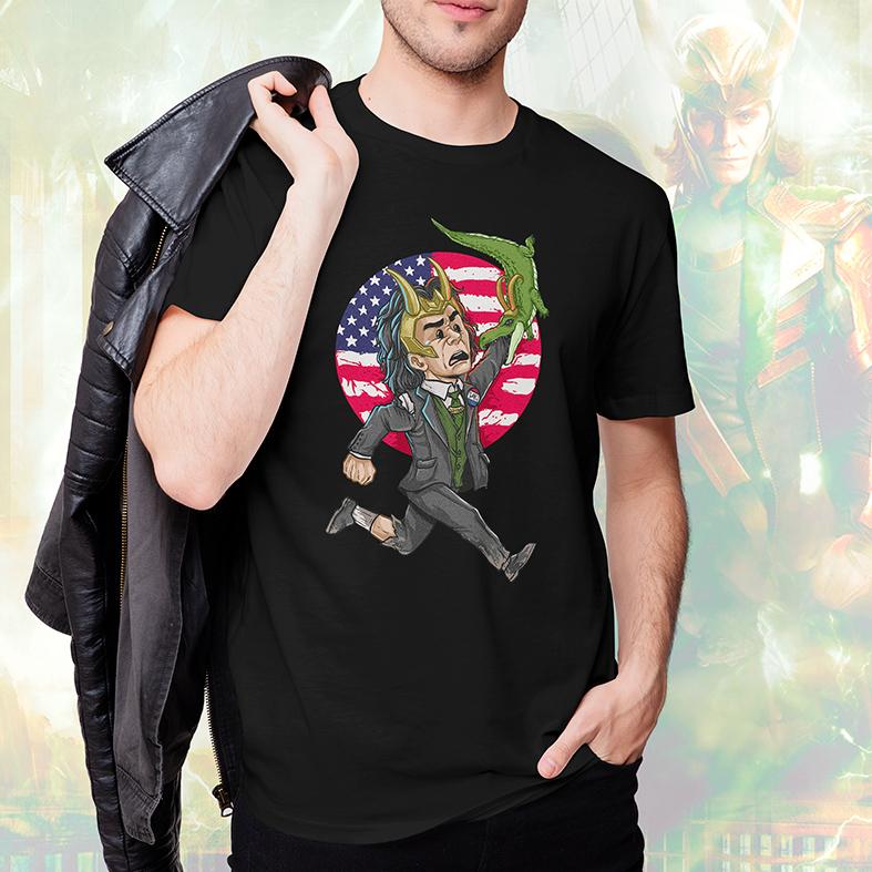 Camiseta Masculina Unissex Loki Presidente EUA Jacaré Deus Da Trapaça Marvel Disney+ (Preta) - EV