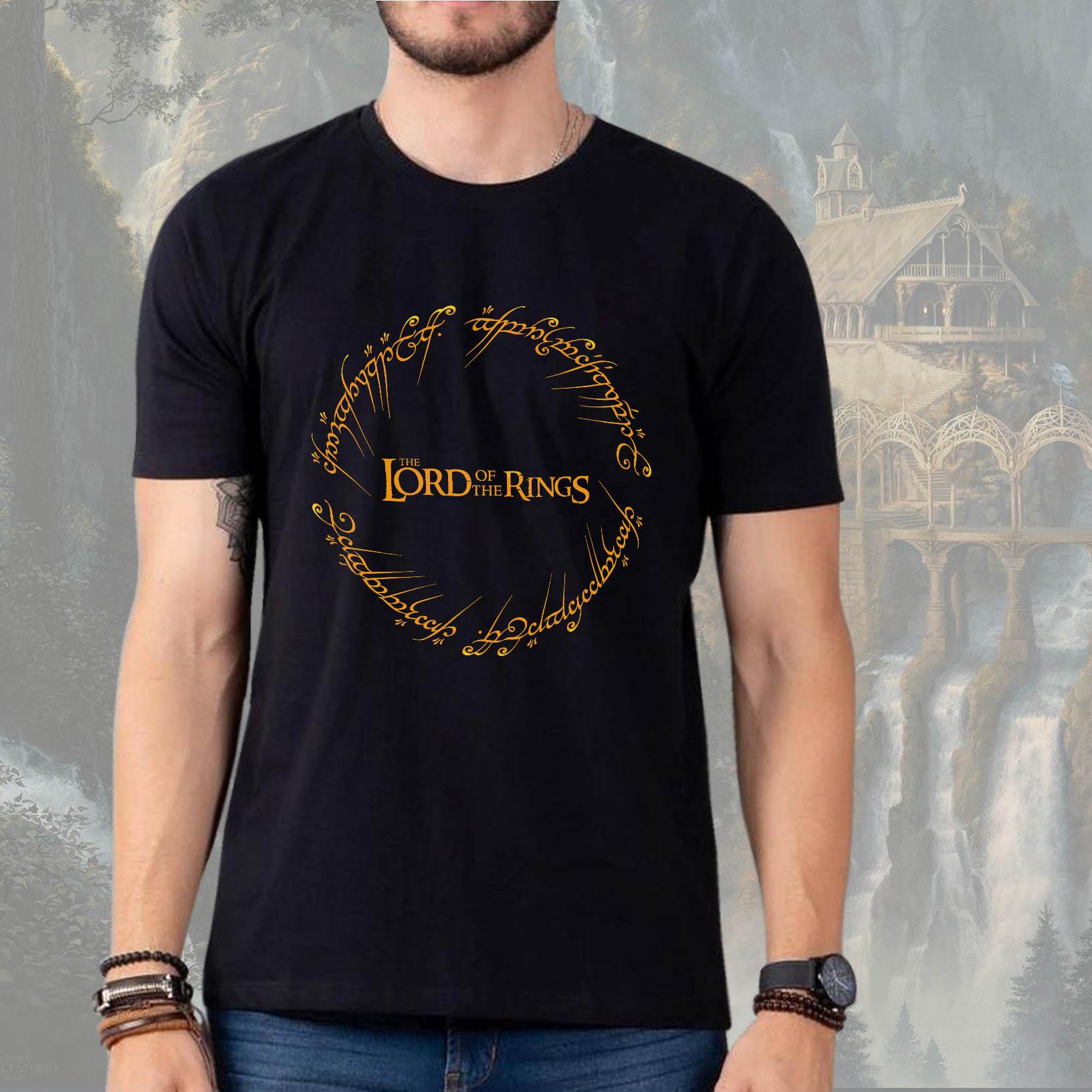 Camiseta Masculina Unissex Lord Of The Rings O Senhor Dos Anéis Anél De Sauron (Preta) - EV