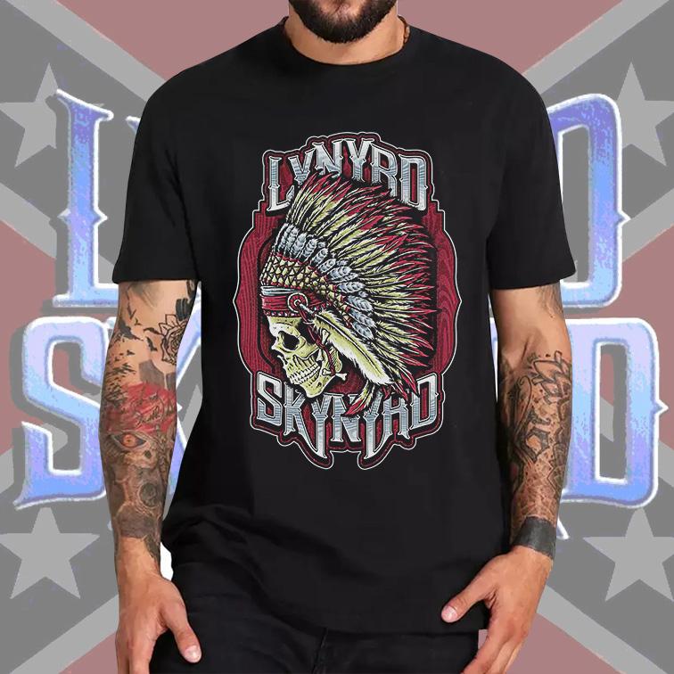 Camiseta Masculina Unissex Lynyrd Skynyrd American Rock Band Skull (Preta) - EV