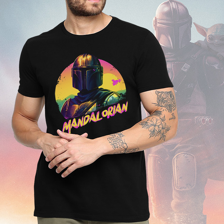 Camiseta Masculina Unissex Mandalorian Paints: Star Wars (Preta) - EV