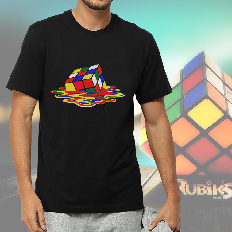Camiseta Masculina Unissex Melting Magic Rubik Cube Cubo Mágico Derretido (Preta) - EV