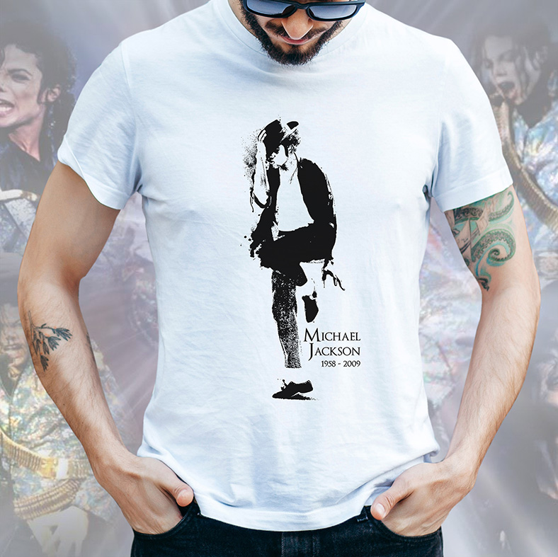 Camiseta Masculina Unissex Michael Jackson 1958-2009 (Branca) - EV