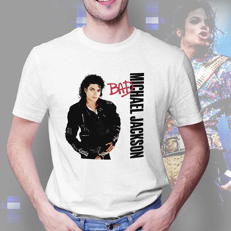 Camiseta Masculina Unissex Michael Jackson Bad (Branca) - EV