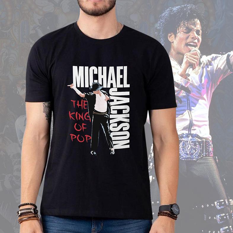 Camiseta Masculina Unissex Michael Jackson King Of Pop Dance Pose Rei Do Pop (Preta) - EV