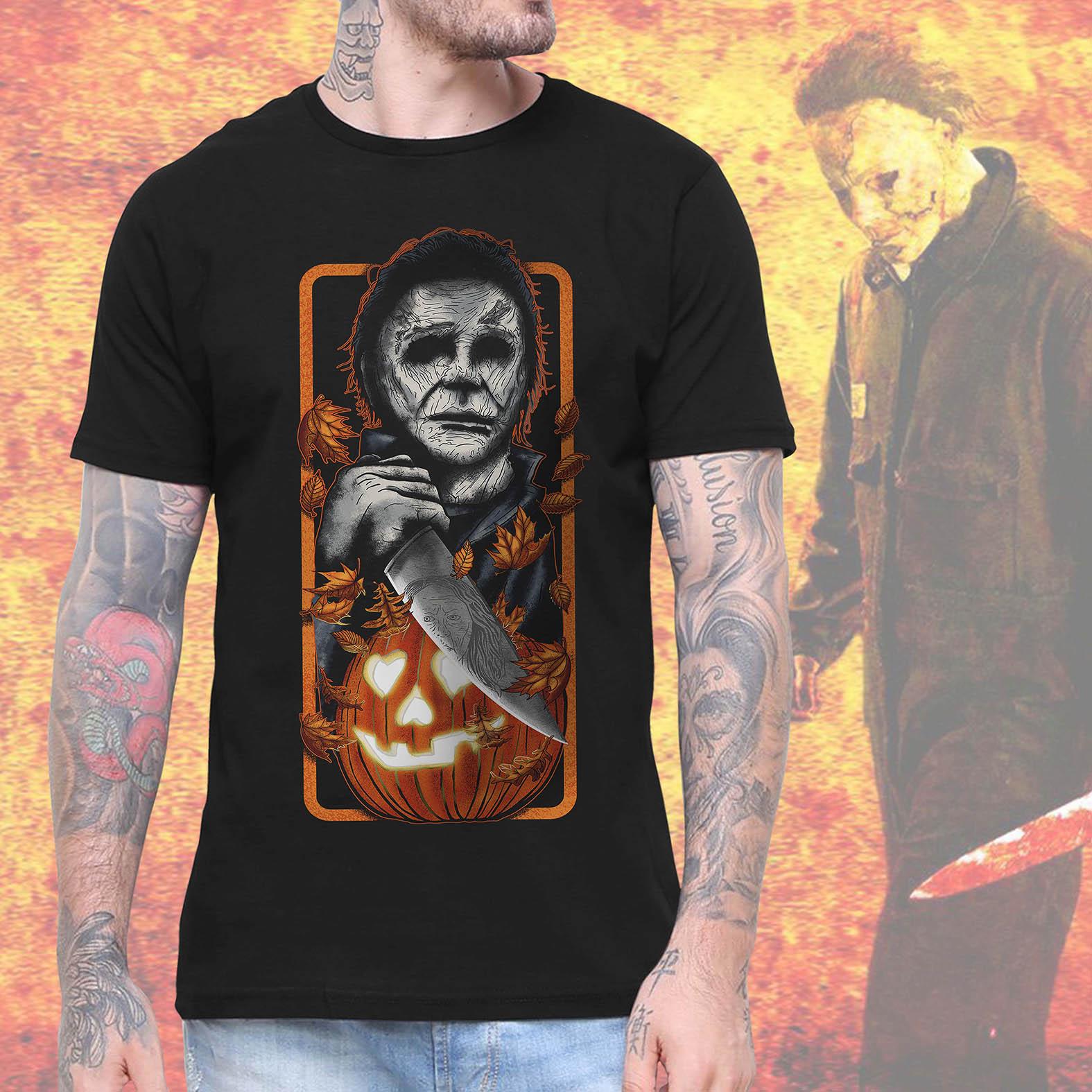 Camiseta Masculina Unissex Michael Myers Halloween Abóbora Terror Horror Serial Killer (Preta) - EV
