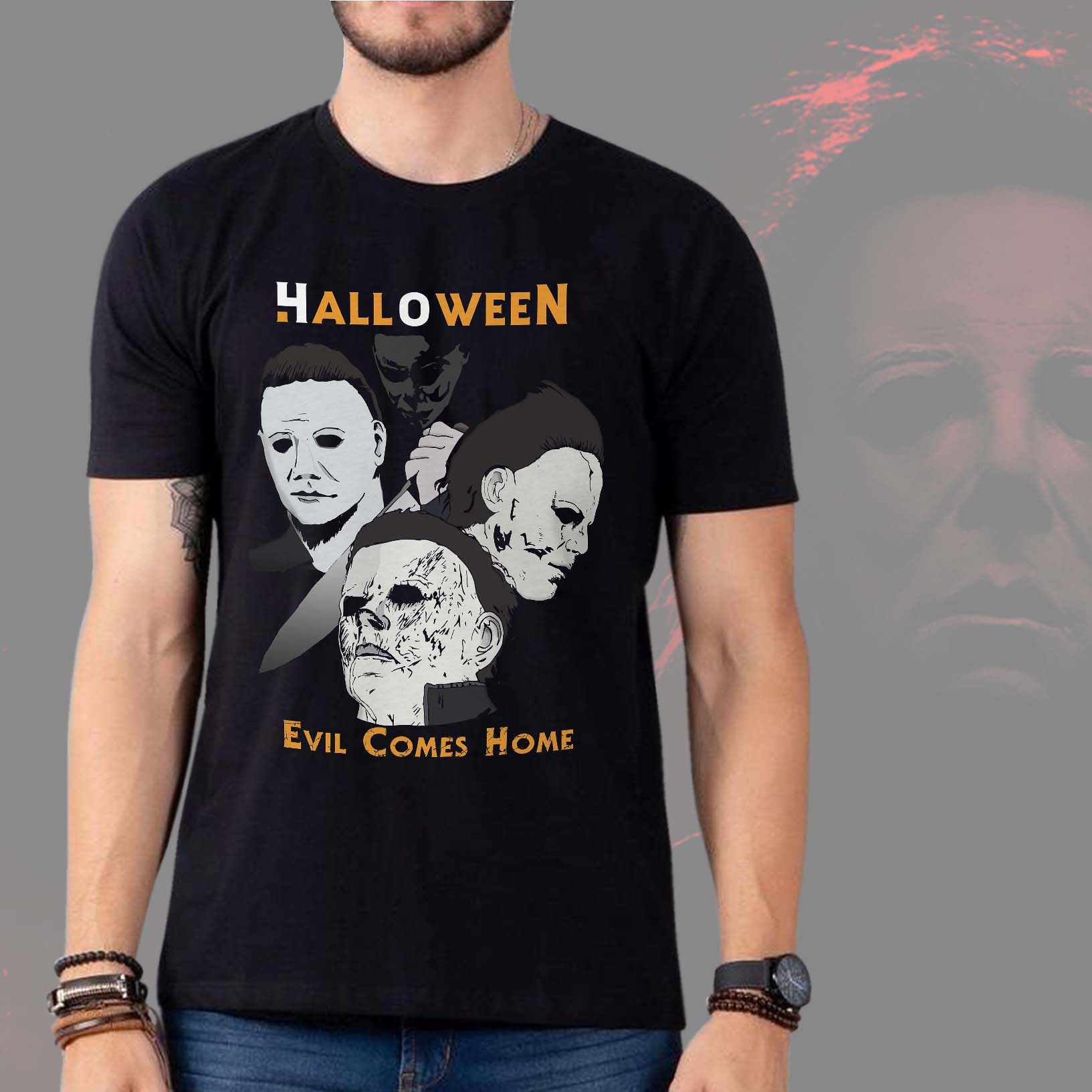 Camiseta Masculina Unissex Michael Myers Halloween Evil Comes Home Terror Horror (Preta) - EV
