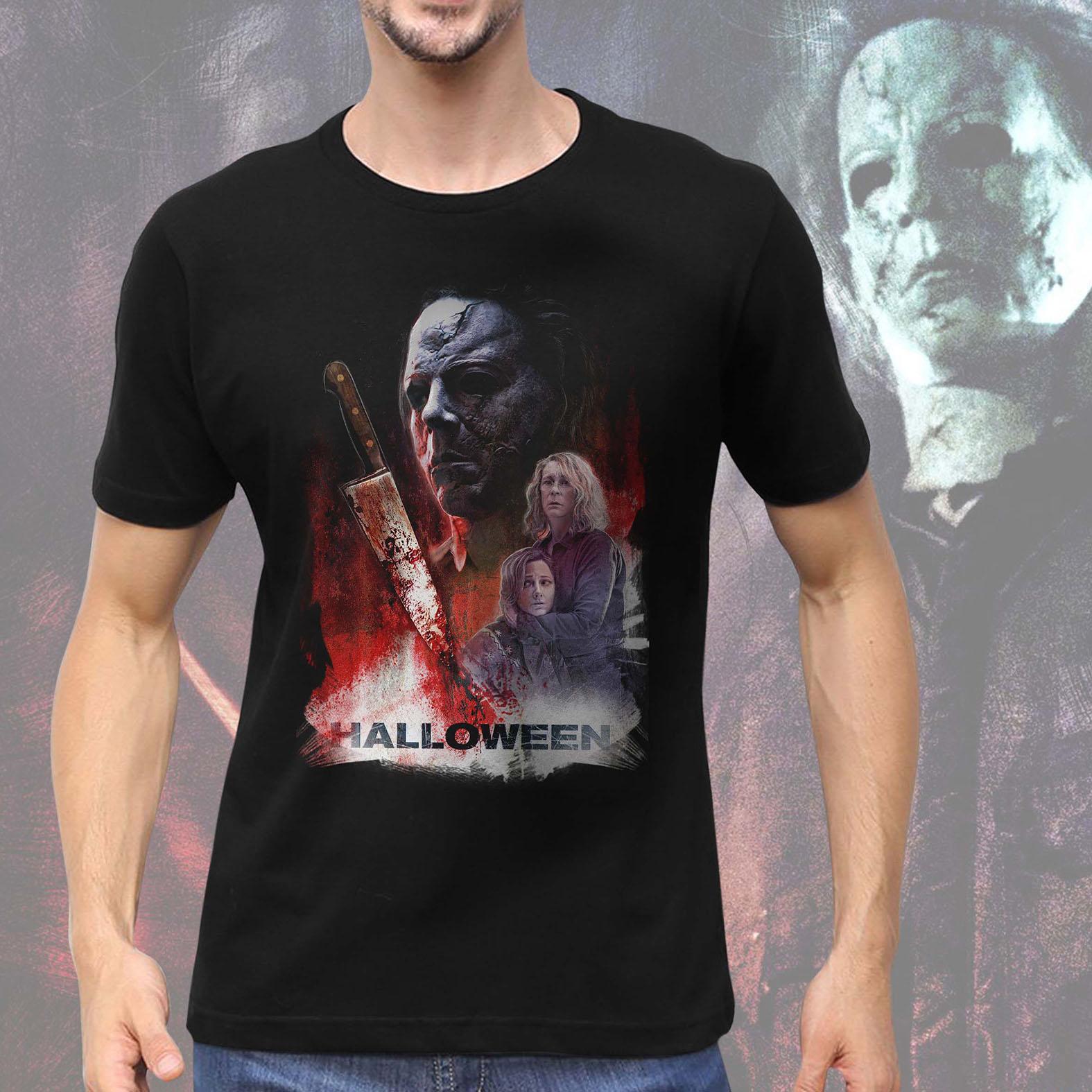 Camiseta Masculina Unissex Michael Myers Halloween Terror Horror Serial Killer (Preta) - EV