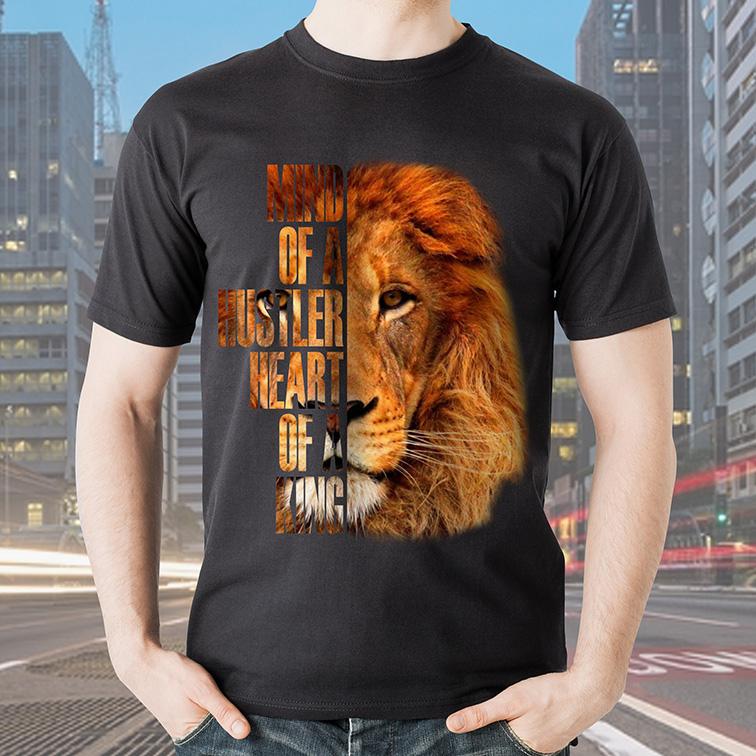 Camiseta Masculina Unissex Mind of a Hustler Heart Of a King Lion Cinza Tamanho: GG