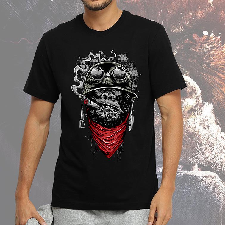 Camiseta Masculina Unissex Monkey Smoke Style Helmet (Preta) - EV