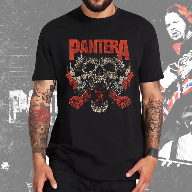 Camiseta Masculina Unissex Mouth For War Rock And Roll: Pantera (Preta) - EV