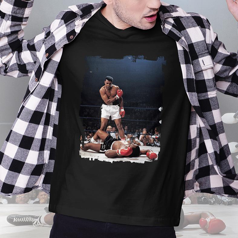 Camiseta Masculina Unissex Muhammad Ali Vs Sonny Liston World Champion (Preta) - EV