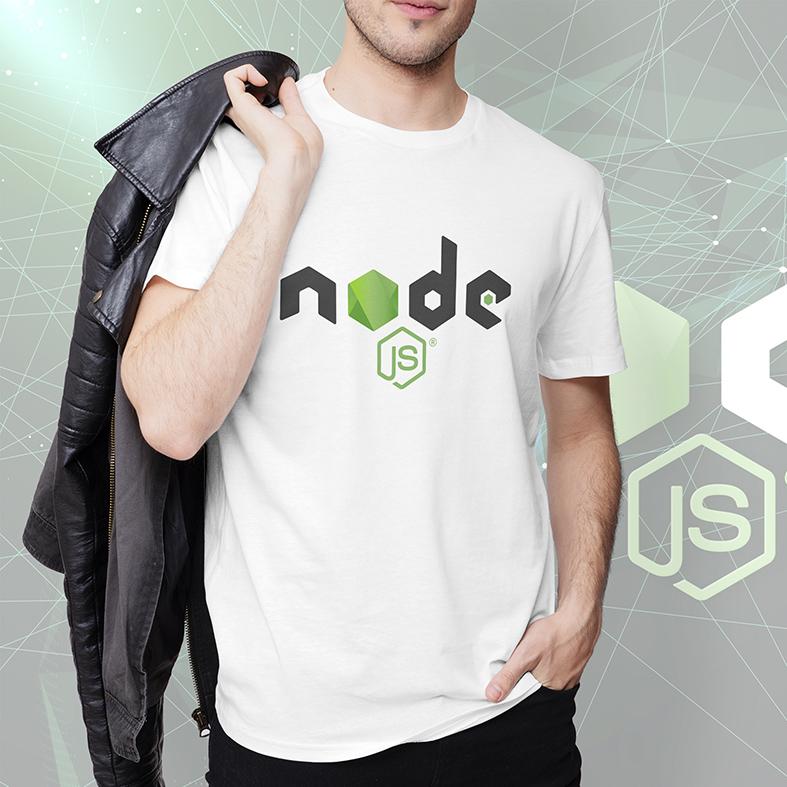 Camiseta Masculina Unissex Node.Js Software Código Aberto V8 JavaScript Linguagem Programação HTML CSS (Branca) - EV