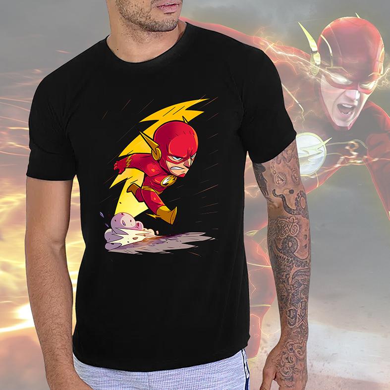 Camiseta Masculina Unissex O Flash The Flash DC Comics Animação Cartoon (Preta) - EV