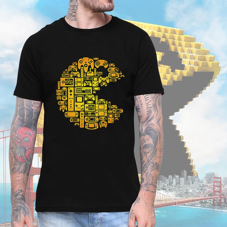Camiseta Masculina Unissex Pacman Gamer Retro Arcade (Preta) - EV