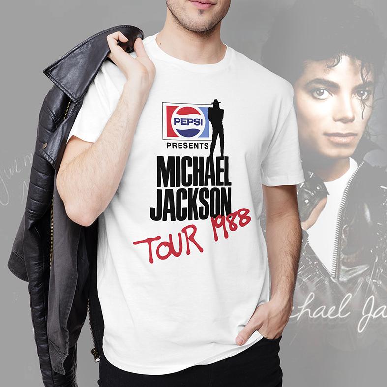 Camiseta Masculina Unissex Pepsi Presents Michael Jackson Tour 1988 (Branca) - EV