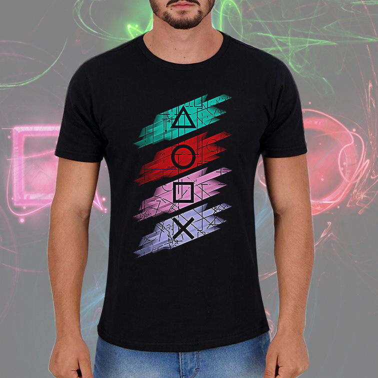 Camiseta Masculina Unissex Playstation Gaming Buttons (Preta) - EV