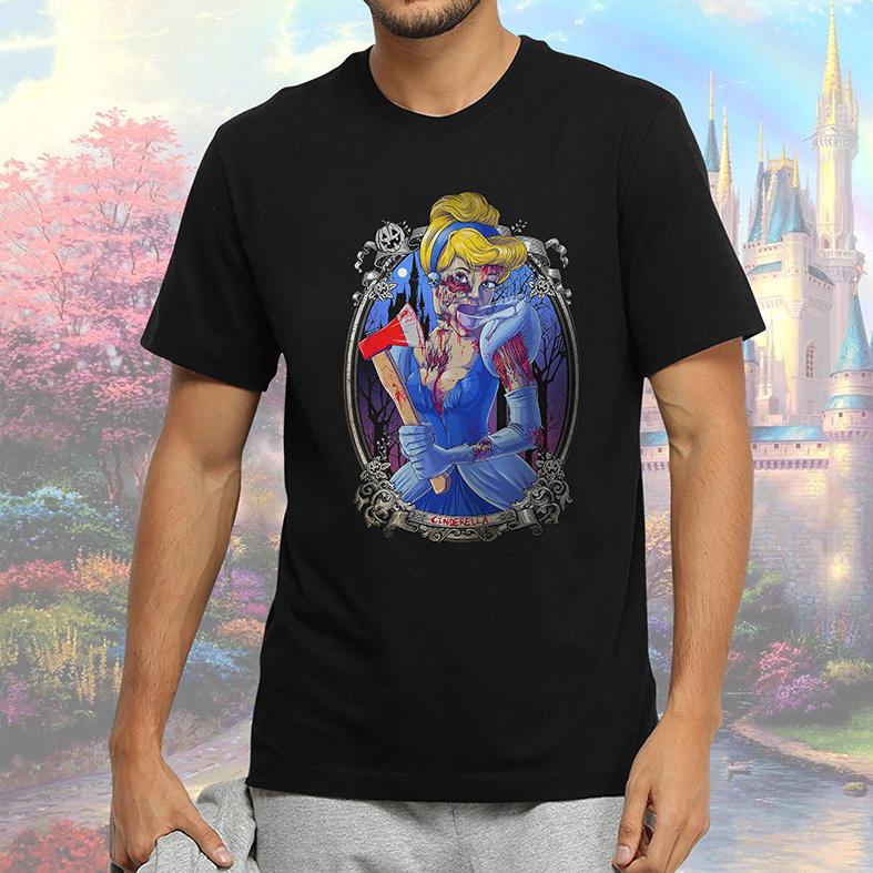 Camiseta Masculina Unissex Princesa Malvada Cinderela Zumbi Cinderella Disney (Preta) - EV