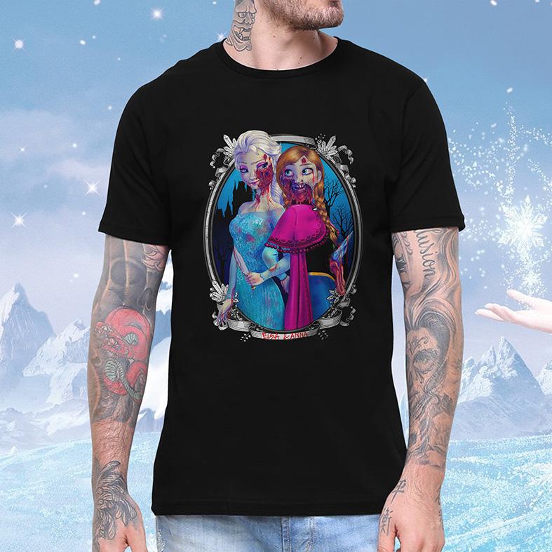 Camiseta Masculina Unissex Princesa Malvada Elsa e Anna Zumbi Frozen Disney (Preta) - EV