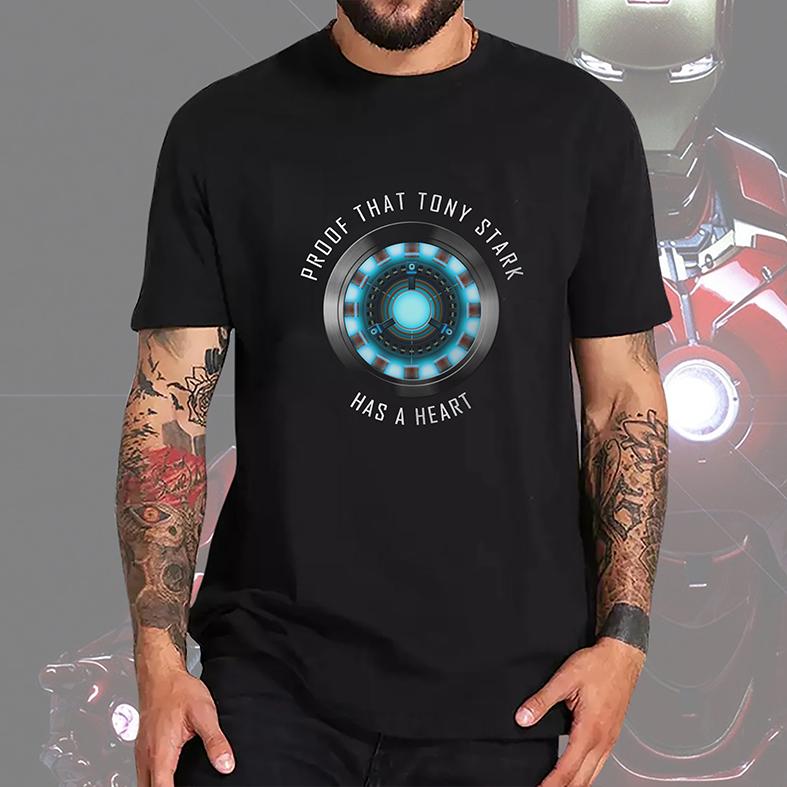 Camiseta Masculina Unissex Proof That Tony Stark Has A Heart Prova De Que Tony Tem Um Coração Iron Man (Preta) - EV