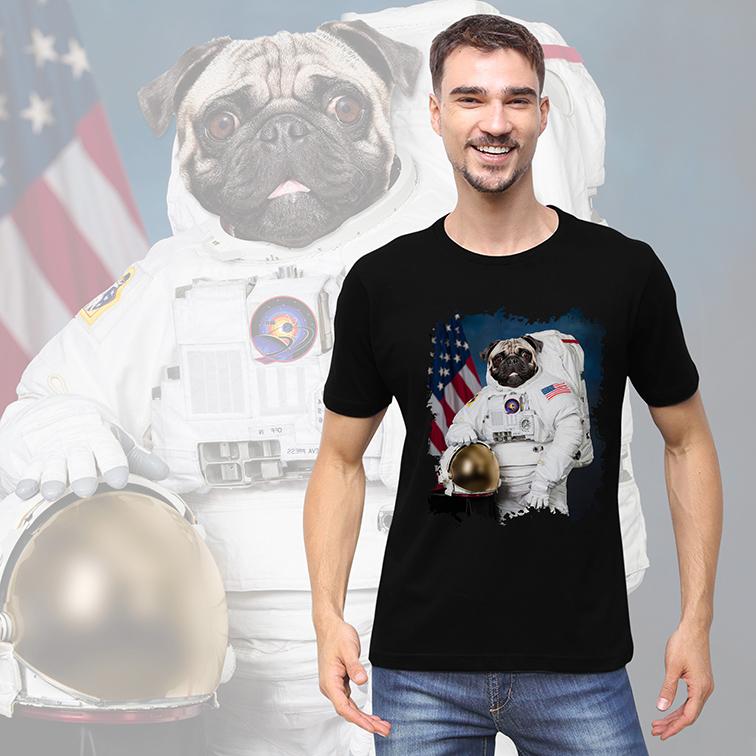 Camiseta Masculina Unissex Pug Cachorro Astronauta: Nasa Espaço (Preta) - EV