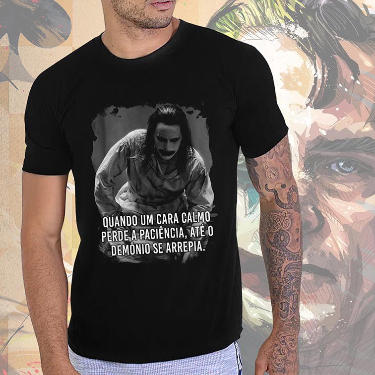 Camiseta Masculina Unissex Quando Um Cara Calmo Perde a Paciência, Até o Demônio Se Arrepia The Joker Jack (Preta) - EV