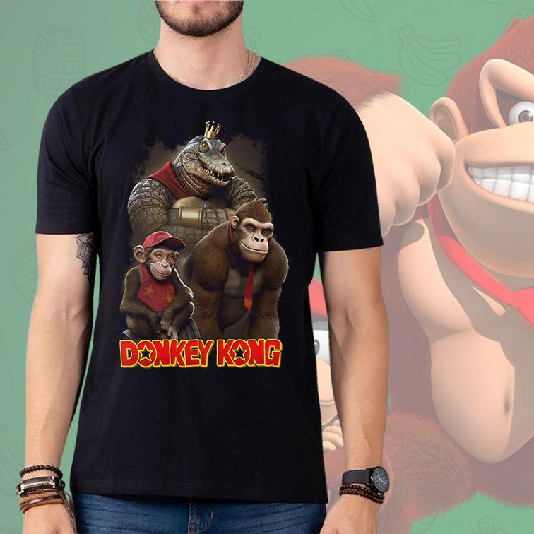 Camiseta Masculina Unissex Realistic: Donkey Kong (Preta) - EV