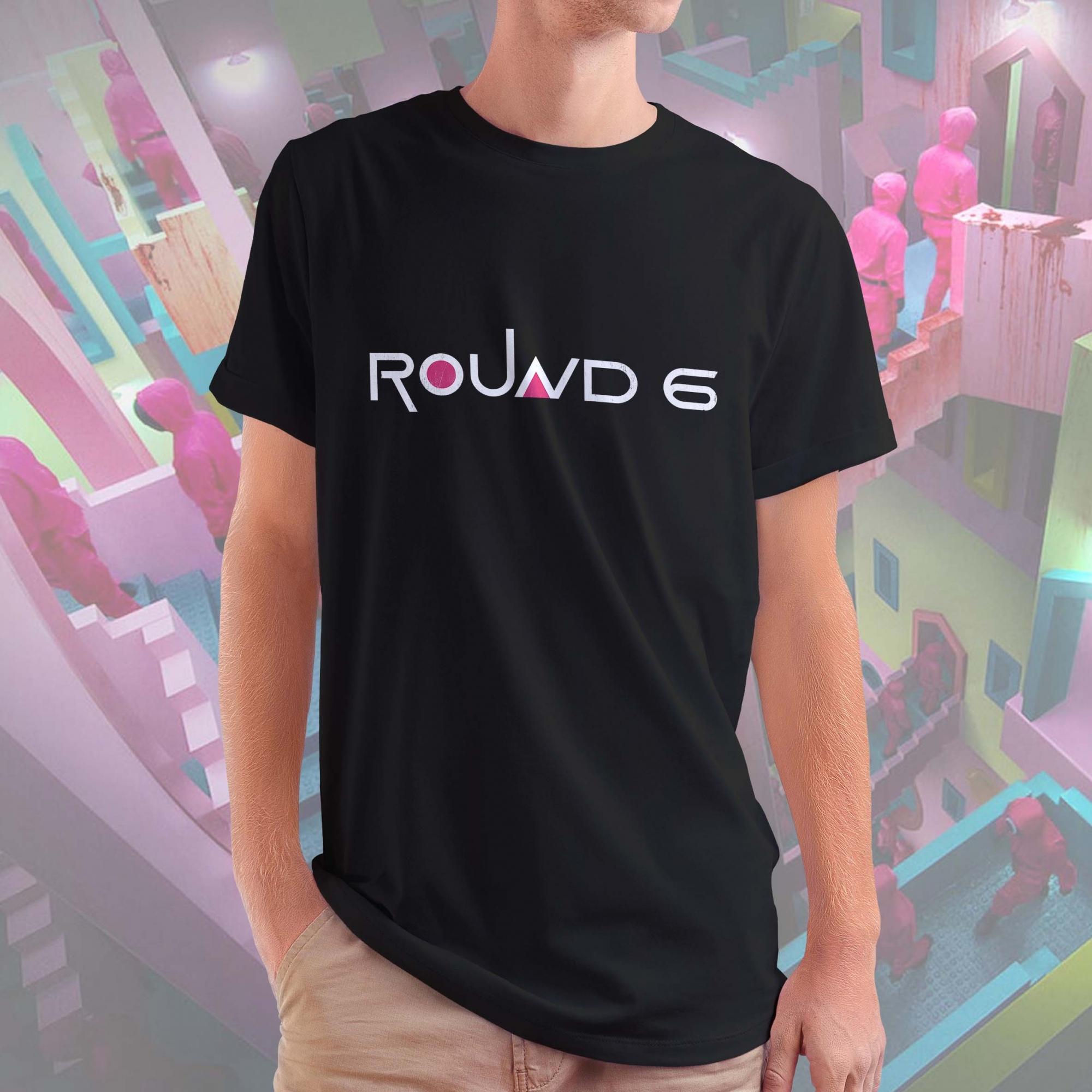 Camiseta Masculina Unissex Round 6 Logo Squid Game Netflix (Preta) - EV