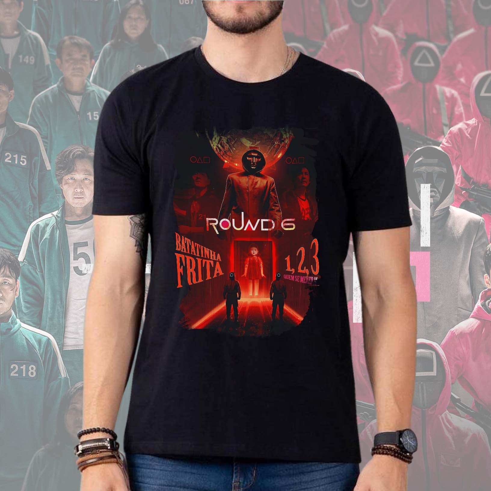 Camiseta Masculina Unissex Round 6 Squid Game Batatinha Frita 1 2 3 Boneca Netflix (Preta) - EV