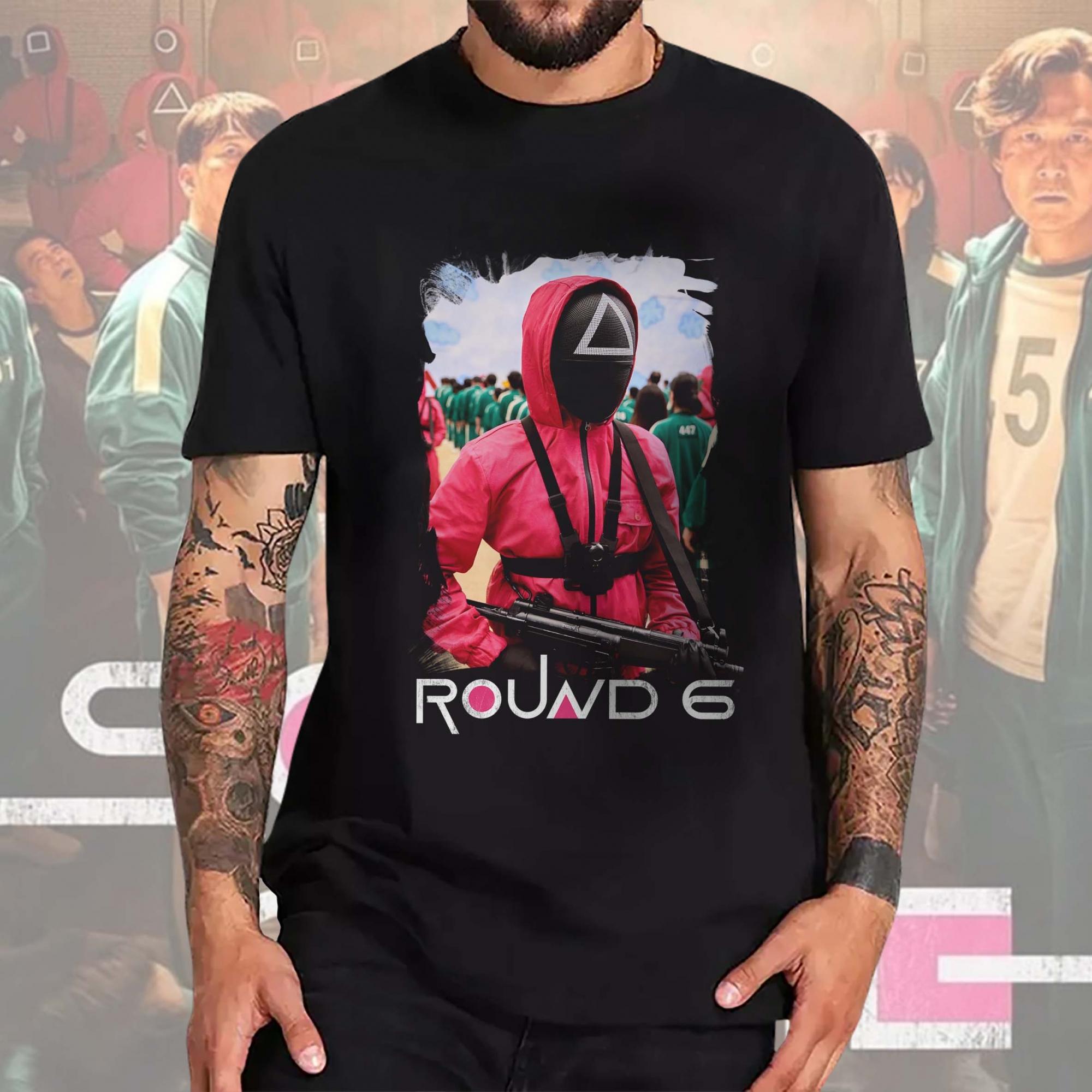 Camiseta Masculina Unissex Round 6 Squid Game Netflix (Preta) - EV