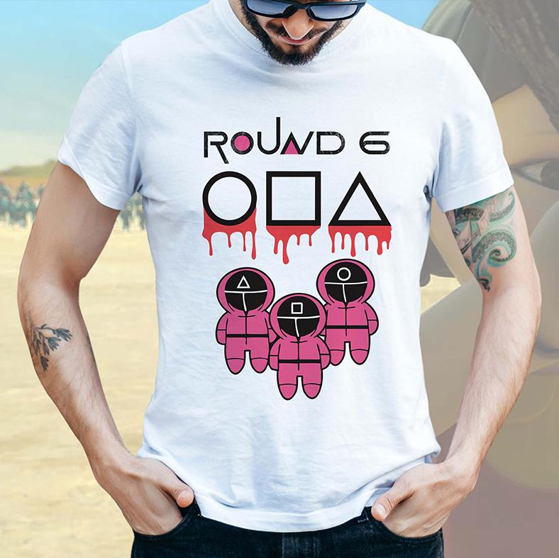 Camiseta Masculina Unissex Round 6 Squid Game Símbolos Jogadores Bola Quadrado Retângulo (Branca) - EV