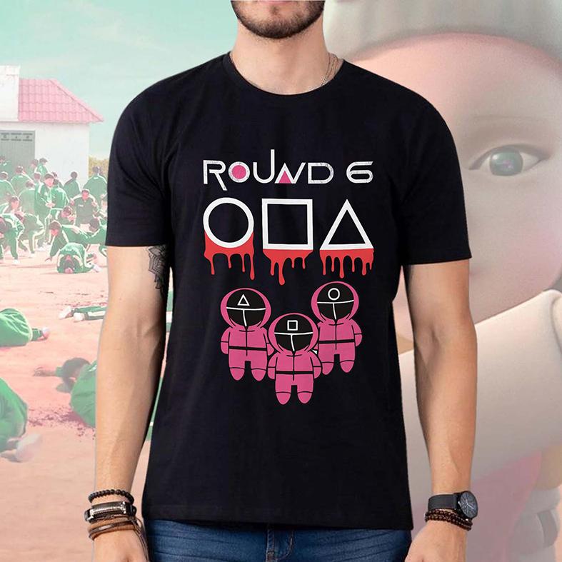 Camiseta Masculina Unissex Round 6 Squid Game Símbolos Jogadores Bola Quadrado Retângulo (Preta) - EV