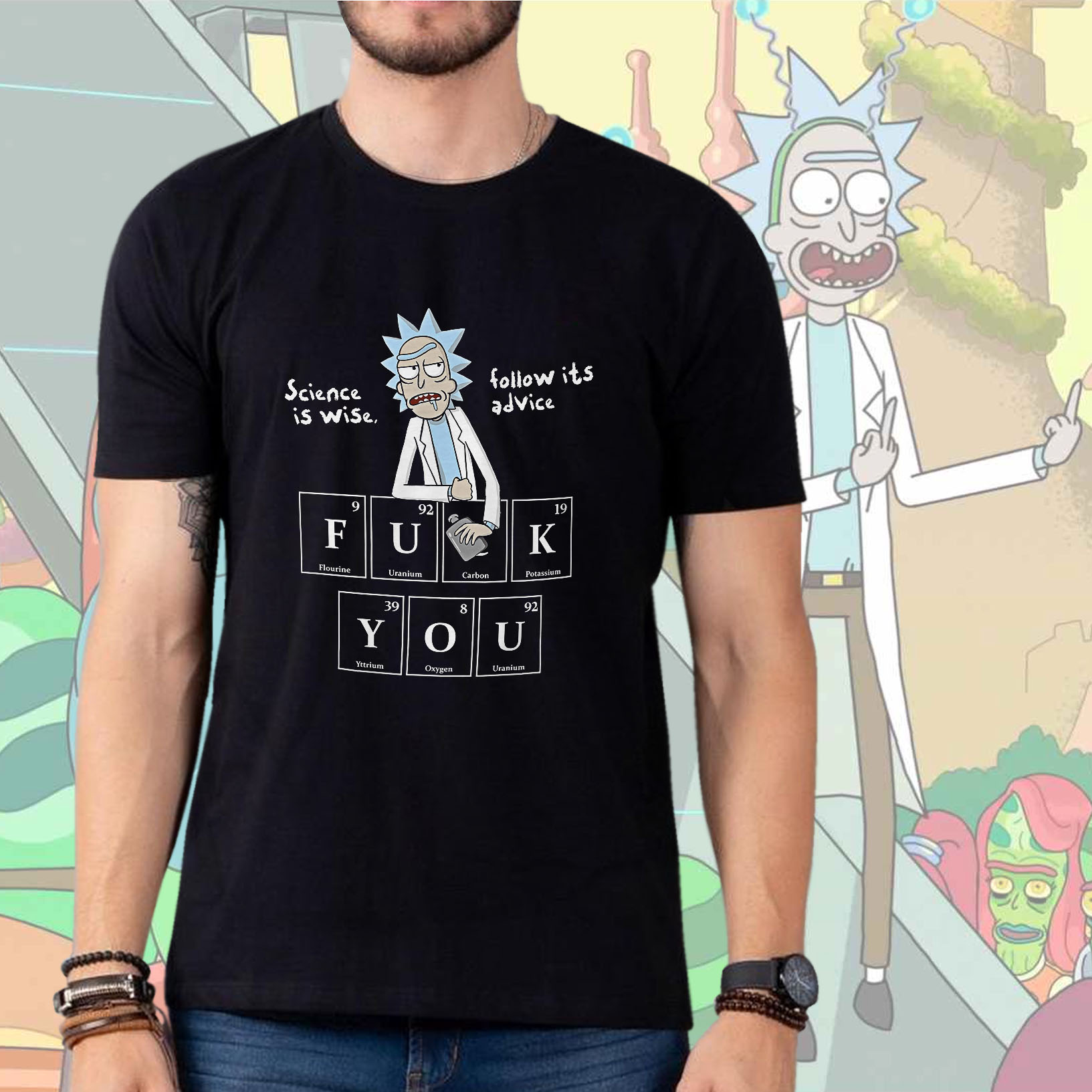 Camiseta Masculina Unissex Science Is Wise, Follow Its Advice: Rick and Morty (Preta) - EV
