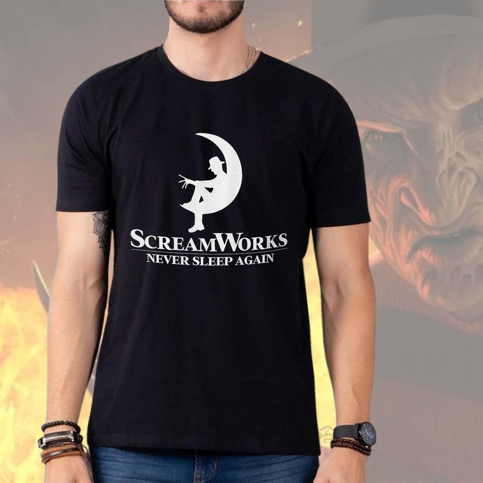 Camiseta Masculina Unissex Screamworks Never Sleep Again Freddy Krueger Terror Halloween (Preta) - EV