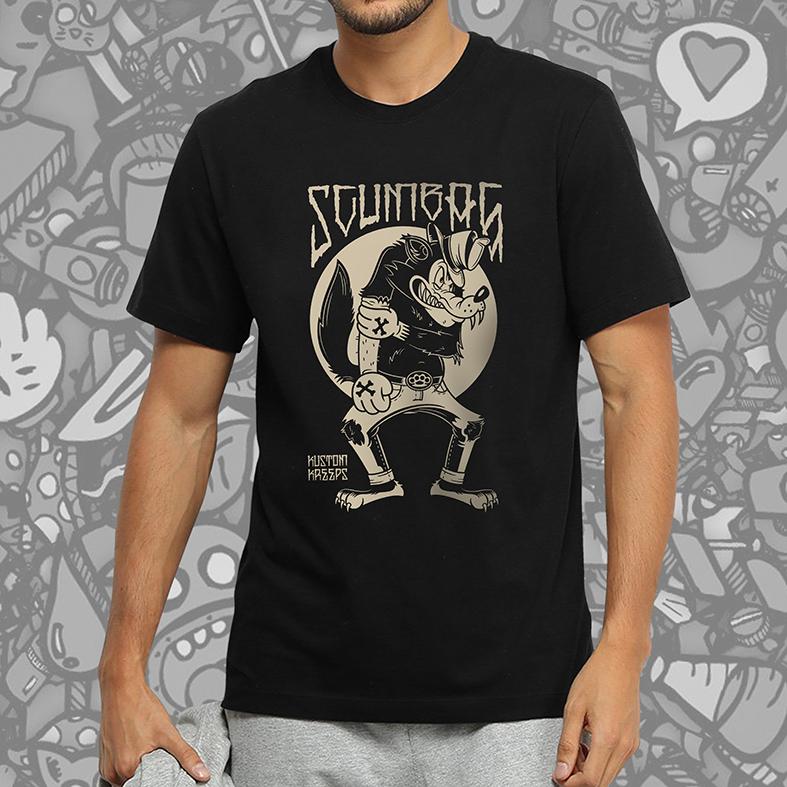Camiseta Masculina Unissex Scumbag Kustom Kreeps Wolf (Preta) - EV