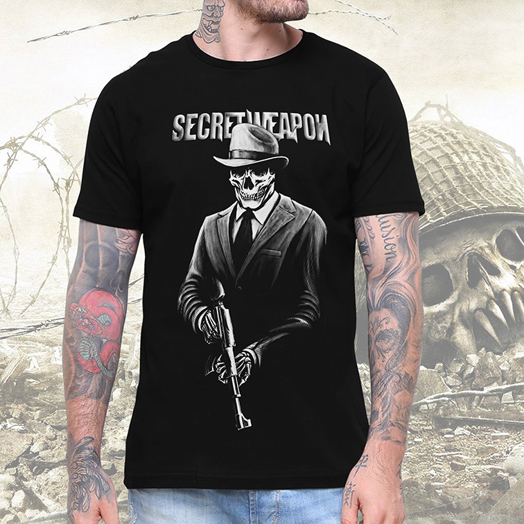 Camiseta Masculina Unissex Secret Weapon Skull Army (Preta) - EV