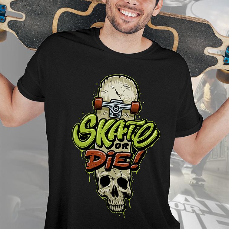 Camiseta Masculina Unissex Skate Or Die Skateboarding (Preta) - EV