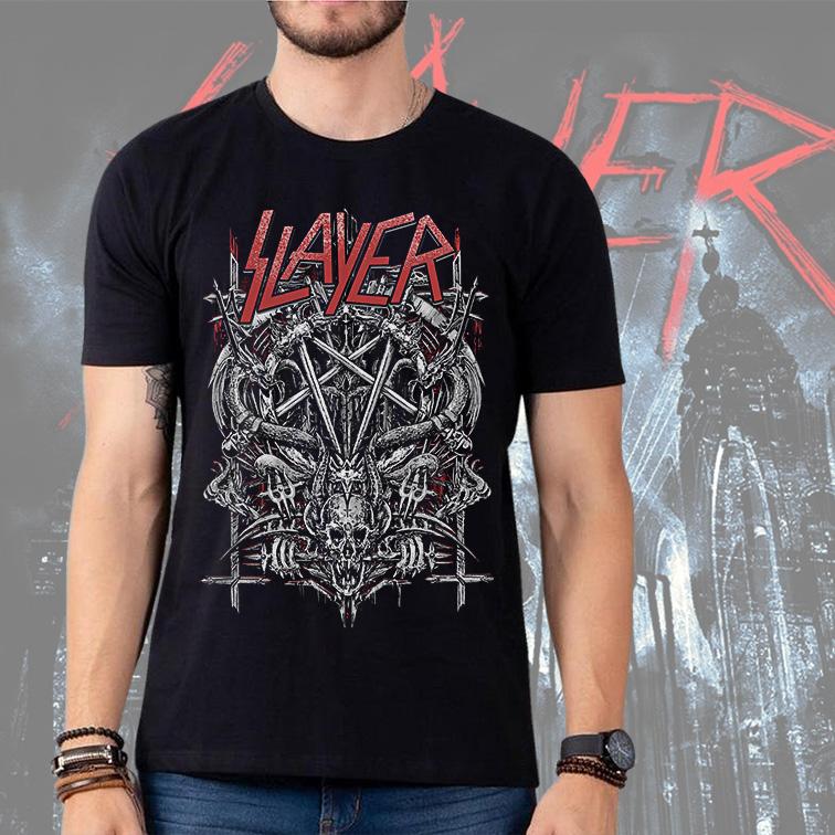 Camiseta Masculina Unissex Slayer Metal Bands Skull (Preta) - EV